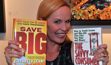 Author-Elisabeth Leamy-with her books Save BIG and The Savvy Consumer