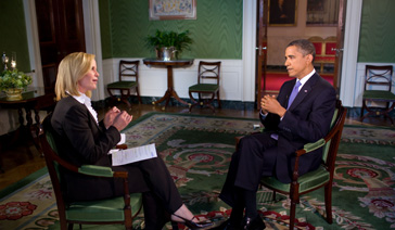 Broadcaster-Columnist-Elisabeth Leamy-Interviewing President Barack Obama