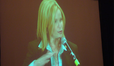 Keynoter-Elisabeth Leamy-On the Jumbotron during motivational speech