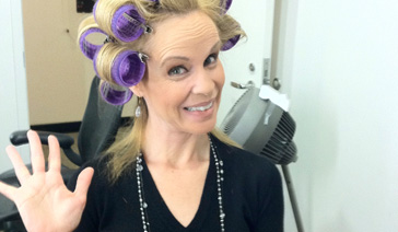 Spokesperson-Brand Ambassador-Subject Matter Expert-Elisabeth Leamy-In curlers in her GMA dressing room